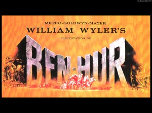 "One of the original movie posters for the 1959 film. The first film version of Ben Hur was silent and released in 1925. These were all based on ""Ben Hur: a Tale of the Christ"" by Lew Wallace, 1880."