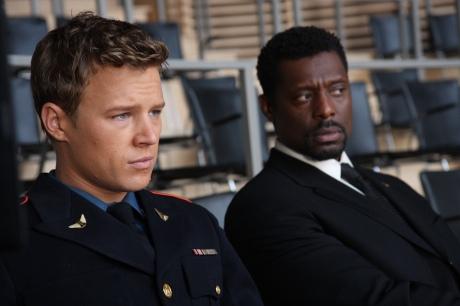 "KINGS -- ""Pilot"" -- Pictured: (l-r) Chris Egan as ""David Shepherd"", Eamonn Walker as ""Reverand Ephram Samuals"" -- NBC Photo: Eric Liebowitz"