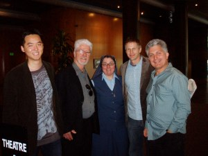 """L to R Eugene Suen, City of Angels Film Fest producer, Tom Stang, brother of Sr. Dorothy, Sr. Rose Pacatte, FSP, director Daniel Junge, Craig Detwiellwer, CAFF producer, pose for a photo after the screening of """"They Killed Sister Dorothy"""" at the Directors Guild of America, Hollywood, March 1, 2009"""
