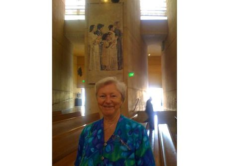 We gave Sr. Peggy's the one day nuns' tour of Hollywood that included a visit to Our Lady of the Angels Cathedral. Here Sr Peggy stands in front of the tapestry of St. Elizabeth Ann Seton, foundress of her congregations, the Sisters of Charity of New York (founded 200 years ago this year)