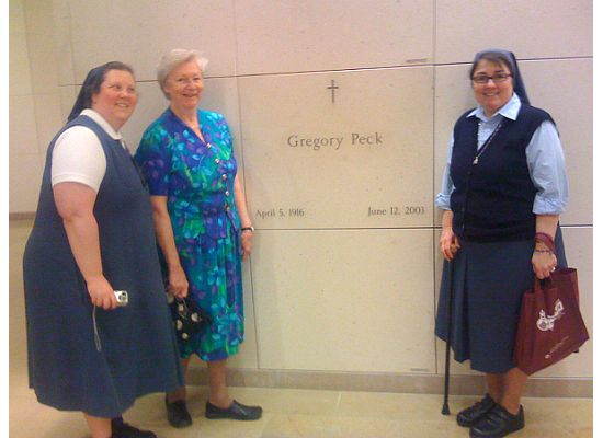 Sister Hosea, Sister Peggy and me at Gregory Peck's grave in the mausoleum under the Cathedral