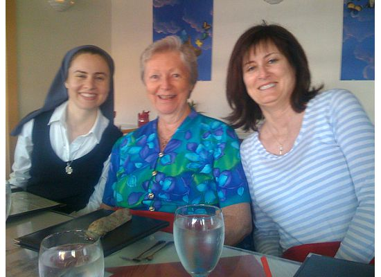 Sr. Tracey, Sr. Peggy, and Pat Boren, co-producer of the CIMA event at dinner at The Terrace in Venice Beach the evening before