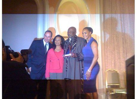 Mark Derwin, MC, Marilyn Gill, President of CIMA, Lous Gossett, Jr. and Viveca A. Fox
