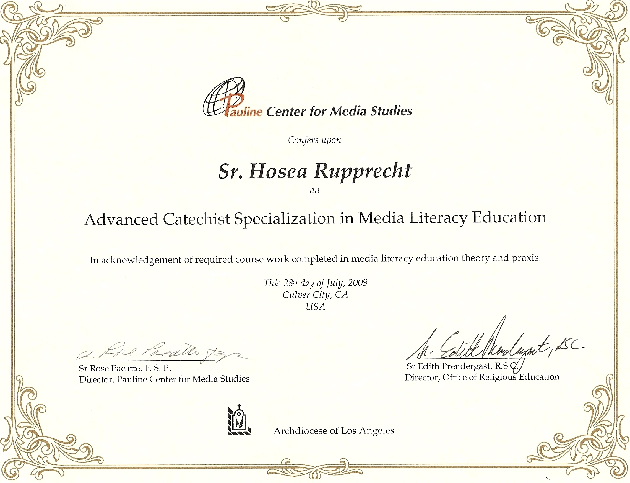 Media literacy advanced catechetical specialization recognized at pcms certificate 1betcityfo Gallery