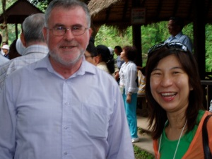 Fr. Peter Malone, MSH (Lights, Camera, Faith!) and Theresa Khoo, a Pauline Cooperator from Singapore